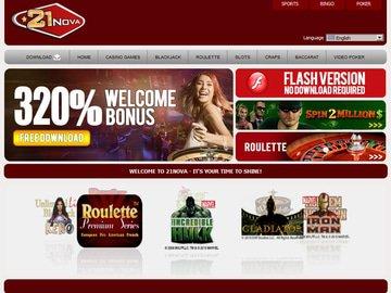 21Nova Casino Homepage Preview