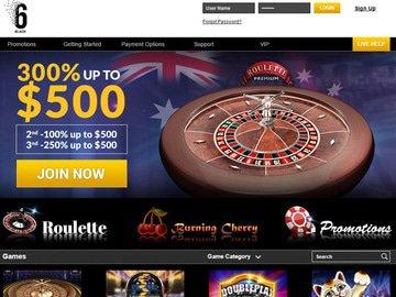 6Black Casino Homepage Preview