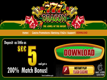 777Dragons Casino Homepage Preview