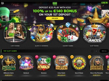 888 Casino Homepage Preview