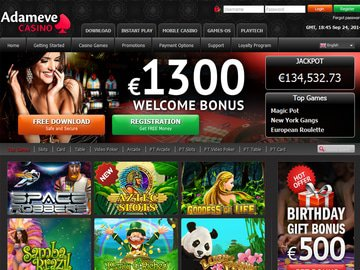 Adameve Casino Homepage Preview