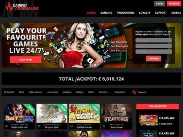 Adrenaline Casino Homepage Preview