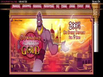 Aladdins Gold Casino Homepage Preview