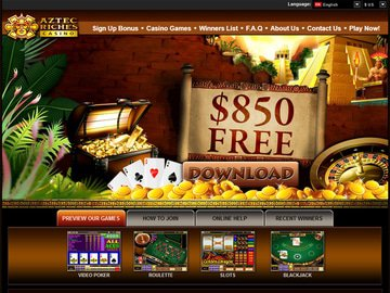 Aztec Riches Casino Homepage Preview