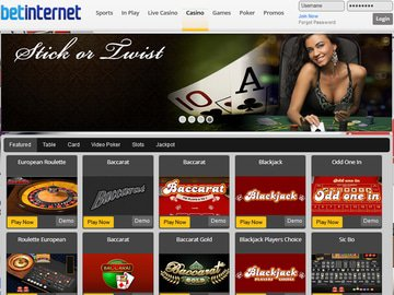 Bet Internet Casino Homepage Preview