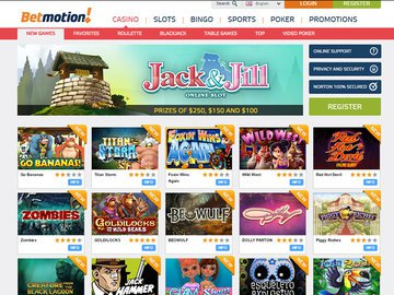Bet Motion Casino Homepage Preview