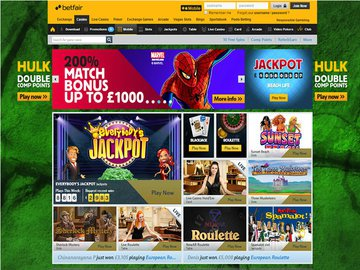 Betfair Casino Homepage Preview