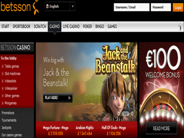 Betsson Casino Homepage Preview