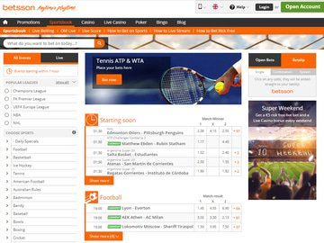 Betsson Homepage Preview