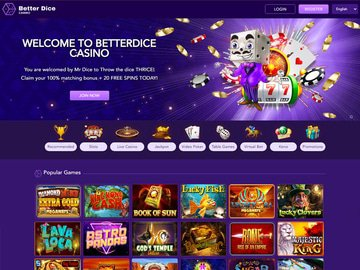 Better Dice Casino Homepage Preview
