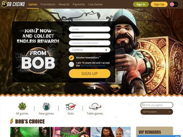 Bob Casino Homepage Preview