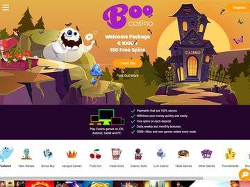Boo Casino Homepage Preview