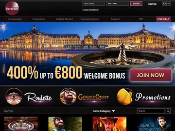 Bordeaux Casino Homepage Preview