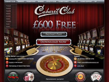 Cabaret Club Casino Homepage Preview