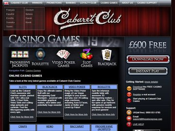 Cabaret Club Casino Software Preview