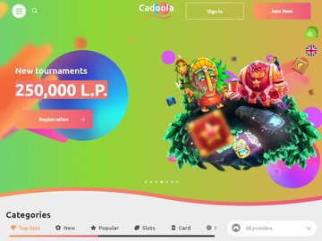 Cadoola Casino Homepage Preview