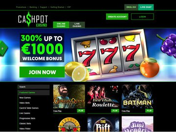Cashpot Casino Homepage Preview