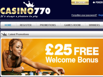 Casino 770 Homepage Preview