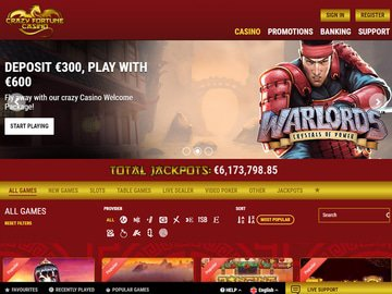 Casino Crazy Fortune Homepage Preview