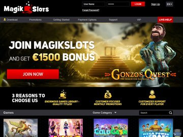 Casino MagikSlots Homepage Preview