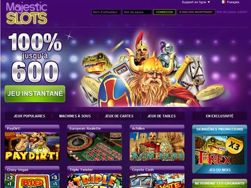 Casino Majestic Slots Homepage Preview
