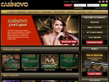 Casinovo Homepage Preview
