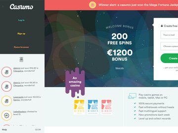 Casumo Casino Homepage Preview