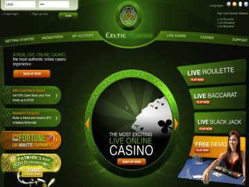 Celtic Casino Homepage Preview