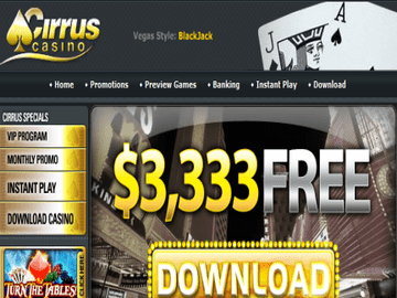 Cirrus Casino Homepage Preview