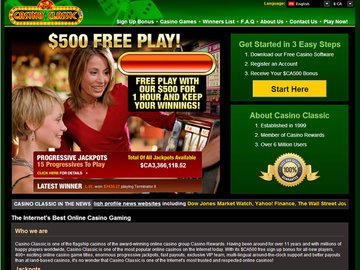 Classic Casino Homepage Preview