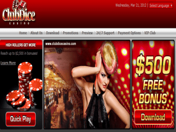 Club Dice Casino Homepage Preview