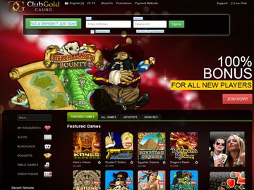 Club Gold Casino Homepage Preview