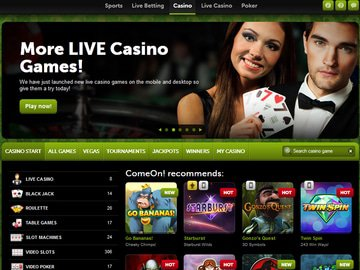 Come On Casino Homepage Preview