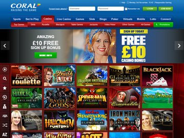 Coral Casino Homepage Preview