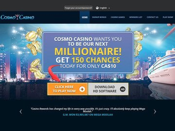 Cosmo Casino Homepage Preview