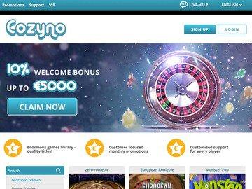 Cozyno Casino Homepage Preview