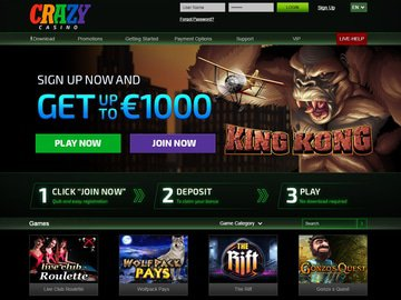 Crazy Casino Club Casino Homepage Preview