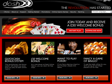 Dash Casino Homepage Preview