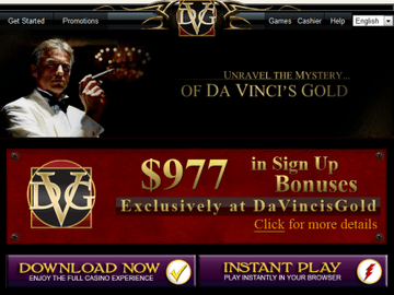 Davincis Gold Casino Homepage Preview