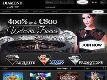 Diamond Club VIP Casino Homepage Preview