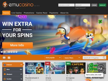 Emu Casino Homepage Preview