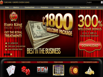 Euro King Casino Homepage Preview