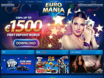Euro Mania Casino Homepage Preview