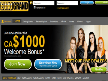 Eurogrand Casino Homepage Preview