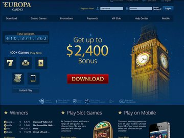Europa Casino Homepage Preview