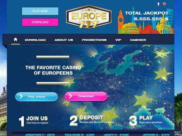 Europe777 Casino Homepage Preview