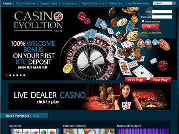Evolution Casino Homepage Preview