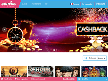 Evolve Casino Homepage Preview