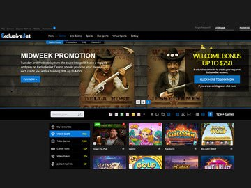 ExclusiveBet Casino Homepage Preview