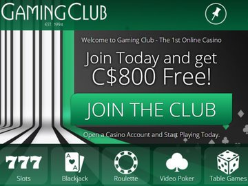 Gaming Club Casino Homepage Preview